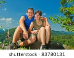 couple on nature - stock photo
