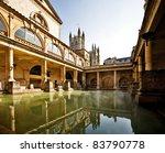 Roman Baths With Bath Abbey...