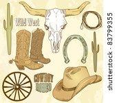 wild west western set | Shutterstock .eps vector #83799355
