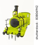 Green Old Steam Train Isolated...
