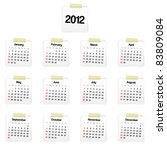 2012 calendar on reminders.... | Shutterstock . vector #83809084