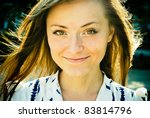 Portrait of a charming city girl - stock photo