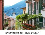 Residential house at lake Como in Northern Italy - stock photo