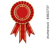 red ribbon award isolated on... | Shutterstock . vector #83822737