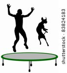 agility,animal,background,ball,black,color,dog,fun,graphic,have,human,illustration,isolated,jumping,obedience