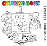 coloring book with kids and... | Shutterstock .eps vector #83824261