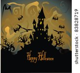 halloween with haunted house | Shutterstock .eps vector #83828719