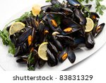 pile of cooked mussels  over... | Shutterstock . vector #83831329