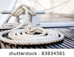 Close Up Of A Mooring Rope Wit...