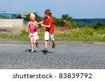 happy little kids running in... | Shutterstock . vector #83839792