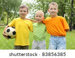 three boys in the park with a... | Shutterstock . vector #83856385