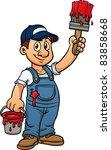 cartoon painter holding a... | Shutterstock .eps vector #83858668