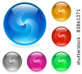 Raster version. Collection of colorful glossy spheres isolated on white. Swirl. - stock photo