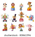 cartoon happy circus show icons ... | Shutterstock .eps vector #83861596