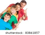 nice family of a four on a white | Shutterstock . vector #83861857