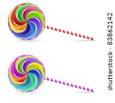 Raster version. Spiral rainbow lollipop - isolated on white background - stock photo