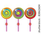 Raster version. Set of colorful lollipops. Illustration on white background - stock photo
