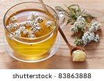 fresh herbal tea and honey - stock photo