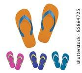 raster version. flip flop set.  ... | Shutterstock . vector #83864725