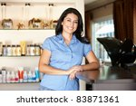 woman working in hairdressing... | Shutterstock . vector #83871361