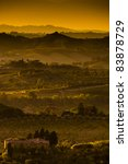 Landscape In Tuscany At Sunset...