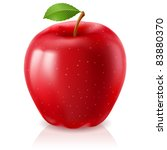 Ripe red apple. Illustration on white background - stock vector