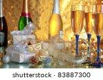 champagne in glasses bottles...   Shutterstock . vector #83887300