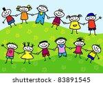 funny cartoon group of children ... | Shutterstock .eps vector #83891545