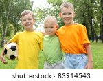 three boys in the park with a... | Shutterstock . vector #83914543