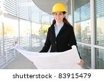 woman architect at work site...   Shutterstock . vector #83915479