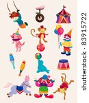 cartoon happy circus show icons ... | Shutterstock .eps vector #83915722
