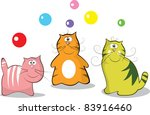 motley collection of funny cats | Shutterstock .eps vector #83916460