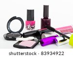 makeup collection on white... | Shutterstock . vector #83934922