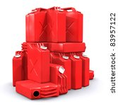 Pile of gasoline canisters isolated on white background - stock photo