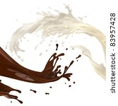 brown coffee hot chocolate and white cream milk splashes in abstract action isolated on white background - stock photo