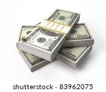 Stacks of $100 isolated on white - stock photo