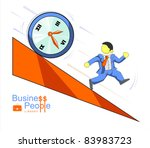businessman runs from rolling... | Shutterstock .eps vector #83983723