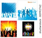 set posters of dancing girls... | Shutterstock .eps vector #83992762