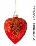 christmas balls heart isolated...   Shutterstock . vector #84004180