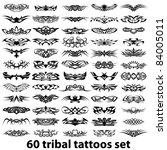 60 tribal tattoos set | Shutterstock .eps vector #84005011
