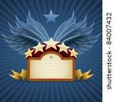 winged star banner on blue. all ... | Shutterstock .eps vector #84007432