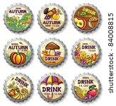 set of cute autumnal bottlecaps | Shutterstock .eps vector #84008815