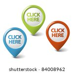vector round 3d click here... | Shutterstock .eps vector #84008962
