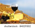 Red Wine  Grapes And Chesse On...