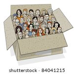 big group of people in the box. ... | Shutterstock .eps vector #84041215