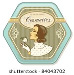 retro woman vintage cosmetics tin - stock vector
