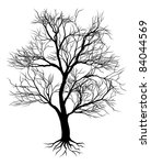 A hand drawn old tree silhouette illustration - stock vector