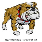 A cartoon very hard looking bulldog character. - stock vector