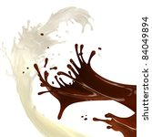 creamy milky and hot chocolate liquid brown and white curly splashes - stock photo