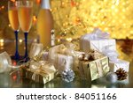 gift boxes and champagne in...   Shutterstock . vector #84051166